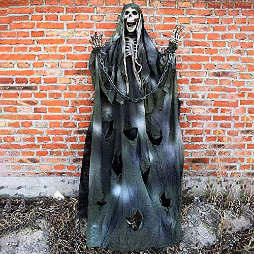 New_Soul - Esqueleto Colgante para Halloween, 180 cm, diseño de Fantasma, Cabeza de Calavera, para Colgar en el jardín, para Fiestas, Halloween, decoración, Color Amarillo