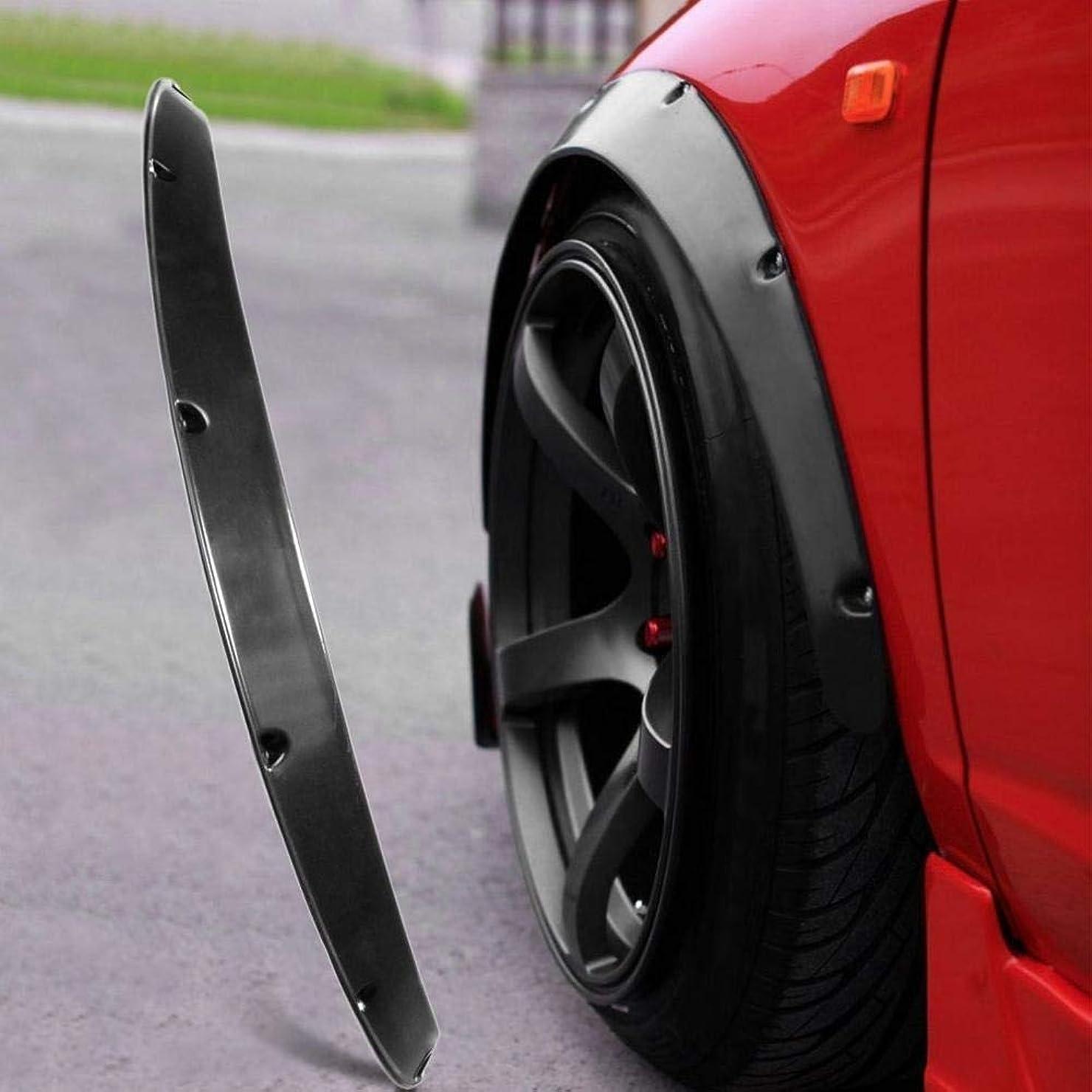 反響するほめるロープ車のマッドフラップ マッドガード4本のユニバーサルJDMフェンダーフレアホイールアーチ2インチ(50ミリメートル)装飾左右前後セットABSプラスチック製の車の付属品
