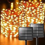 [2 Pack]Guirnalda Luces Exterior Solar,22m 220 LED(perlas de lámpara de gran tamaño mejoradas) , 8 Modos IP65 Luces Led Solares Exteriores Jardin para Navidad, Terraza, Fiestas, Bodas, Patio,etc