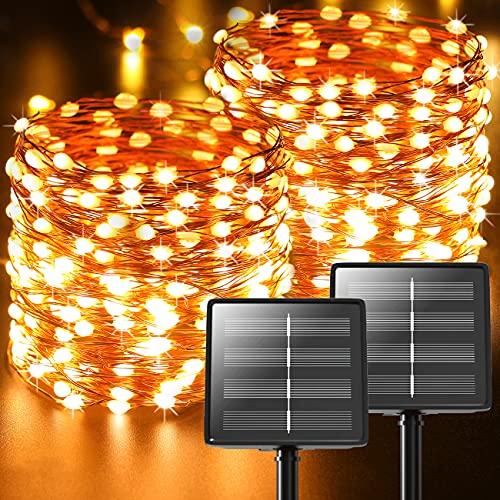 Luci Solari Esterno, 【2 Pacchi】 44m 440 LED In totale (Perlina Della Lampada Oversize) Catena Luminosa Esterno Solare Led da Esterno 8 Modalità Lucine da Esterno Decorative Per Giardino Natale Festa