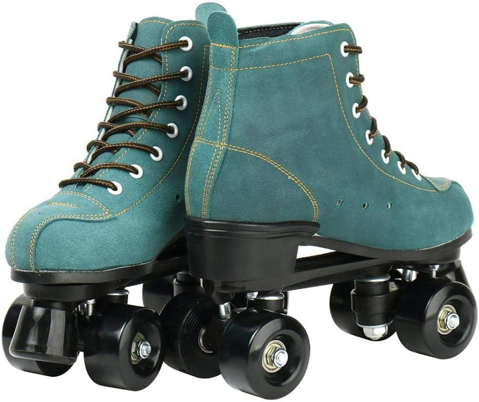 Classic Womens Roller Skates Adjustable Cowhide High Top Double Row Light Up Roller Skates Four-Wheel Shiny Roller Skates for Beginner Kids Adults and Youth Indoor Outdoor