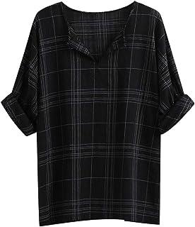 iNoDoZ Mens Long Sleeve Plaid Casual Fashion Printing Loose Comfort Lapel Shirt Tops Blouse
