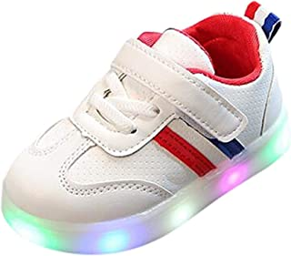 1-6T Kids Baby Boys Girls LED Luminous Shoes Casual Lace-up Velcro Sneakers Slip On Lightweight Breathable Running Shoes