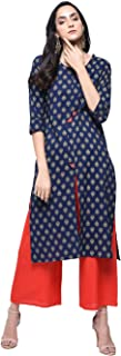 Zoeyams Womens Navy Blue Cotton Printed Long Straight Kurta With Cotton Palazzo