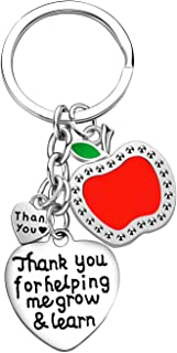 Teacher Keychain Thank You Gifts Thank You for Helping Me Grow and Learn Teacher Appreciation Jewelry