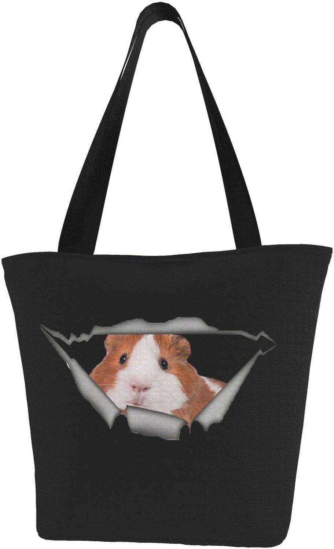 Funny Guinea Pig Cute Art Themed Printed Women Canvas Handbag Zipper Shoulder Bag Work Booksbag Tote Purse Leisure Hobo Bag For Shopping