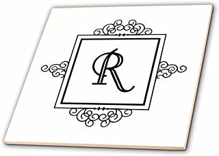 3dRose ct_154341_3 Initial Letter R Personal Monogrammed Fancy Black and White Typography Personalized Ceramic Tile, 8-Inch