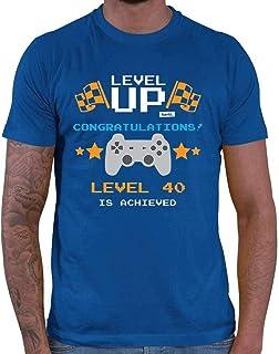 HARIZ Camiseta para hombre Level Up Congratulations Level 40, con tarjetas de regalo