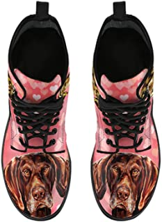 Women's Boots-German Shorthaired Pointer Dog On Heart Double Side Print Boots