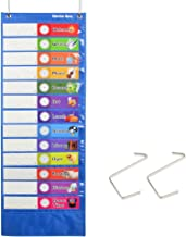 """Daily Schedule Pocket Chart, Class Schedule with 26 Cards, 13+1 Pockets. 13 Colored + 13 Blank Double-Sided Reusable Cards, Easy Over-Door Mountings Included. (13"""" x 36"""")"""