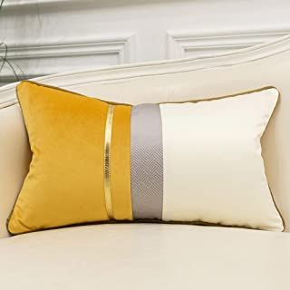 Best Avigers 12 x 20 Inches Yellow White Gold Leather Striped Patchwork Velvet Cushion Case Luxury Modern Throw Pillow Cover Decorative Pillow for Couch Living Room Bedroom Car Review