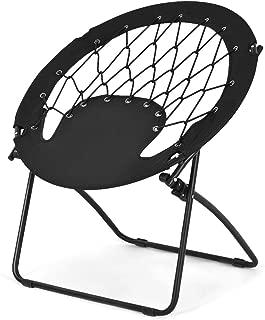 Goplus Bungee Chair Outdoor Camping Gaming Hiking Garden Patio Portable Steel Folding Bunjo Dish Chairs (Classic Black)