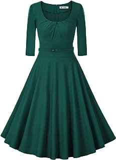 Women's 1950s Vintage Scoop Neck 3/4 Sleeve Pleated Swing Cocktail Dress