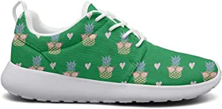 Womens Ultra Lightweight Breathable Mesh Athleisure Sneakers Yellow Pineapple in Glasses & Heart Green Fashion Walking Shoes