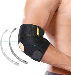 Elbow Brace, Adjustable Elbow Support with Dual-Spring Stabilizer, Elbow Strap for Golfers Elbow, Tennis Elbow, Arthritis, Tendonitis, Sports Injury Pain Relief and Protection