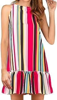 Summer Dress Striped Floral Vintage Sexy Plus Size Casual Beach Dress Women Elegant Sleeveless Mini Dress