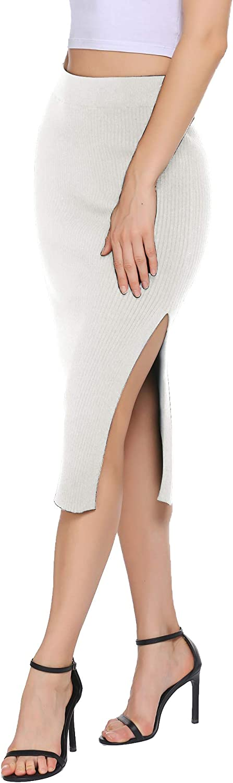HOTLOOX Women's Plus Size Basic Plain Stretchy Ribbed Knit Split High Waist Full Length Sweater Skirt S-XXL