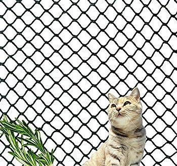 Kingt Filet de Protection Universel Filet de sécurité en Nylon pour balcons, terrasses, Chat, Portes et fenêtres (3 * 4m, Noir)