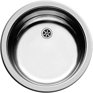 PYRAMIS Clean & Care Rundbecken Spüle ohne Überlauf Edelstahl poliert/Ausschnitt Durchmesser 430 mm/Edelstahlspüle rund/Spüle