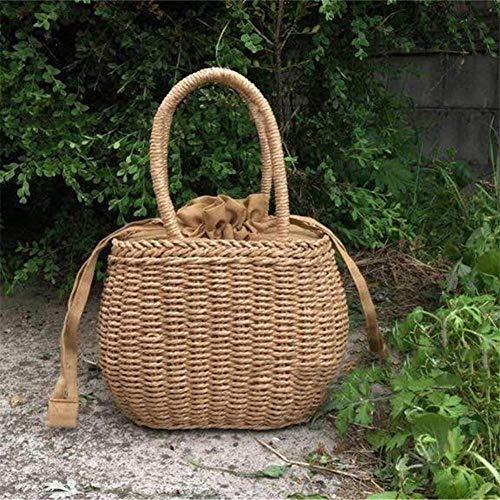 CTOBB Picknicktasche aus Rattan, geflochten, Stroh, für Sommer, Strand, Urlaub, für Frauen, Camping, mit Griff