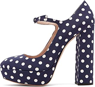 Amy Q Women's Mary Jane Platform Pumps Round Toe Chunky...