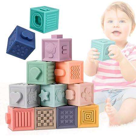 E-More Giochi Neonato 0-12 Mesi Impilabile cubi Bambini , 12 PCS Blocchi per Primi Neonato Dentizione Giocattoli da Masticare Giocattoli Educativi da Bagno per Bambini Gioca