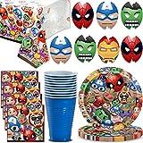 Marvel Party Supplies 16 Servings - Large Plates, Napkins, Cups, Masks,...