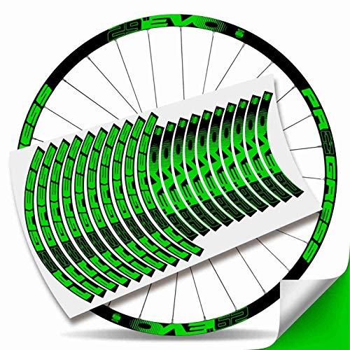 Kit Pegatinas Bicicleta Stickers LLANTA Rim Progress EVO 29' MTB BTT B (Verde Fluor)