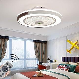 Cuarto De Los Niños Plafón Con Ventilador Moderno Invisible LED Dimable Ventiladores Para El Techo Con Lámpara Niño Y Niña Dormitorio Viento 3 Velocidades Ajustable 40W Fan Iluminación Ø50CM,Marrón