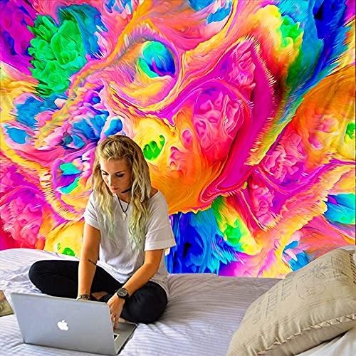 KHKJ Tapiz de Pintura al óleo psicodélica Seta Bohemia Flor de Sol Pulpo Colgante de Pared Sala de Estar Cama hogar al por Mayor A11 230x180cm