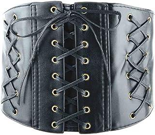 AOMAOY Black Womens PU Leather Belt High Waist Cincher Belt Corsets for Waist Training Wide Belt