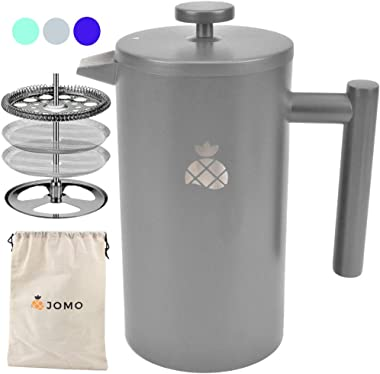 French Press Coffee Maker with Travel Bag by JOMO, Double Wall Insulated Stainless Steel for Hotter Coffee and Tea (34 ounce/1 Liter), Classic and Durable Design for the Kitchen, Travel and Camping