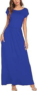 فستان Bluetime طويل الأكمام للنساء مع جيوب بسيط فضفاض مطوي سوينغ فساتين طويلة عادية