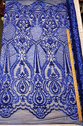 Levi Textiles, INC.'Melanie Design' 4 Way Stretch Nylon Spandex Mesh Sequin Wedding Prom Quinceanera Fabric by The Yard (Royal Blue)