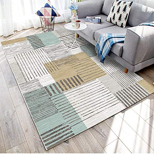 WQ-BBB Sin Desvanecimiento Geometría Gris alfombras Salon Grandes sin Pelo Rayas Negro Blanco marrón Azul alfombraspara Mesa Salon Pasillo alfonbras 150X200cm