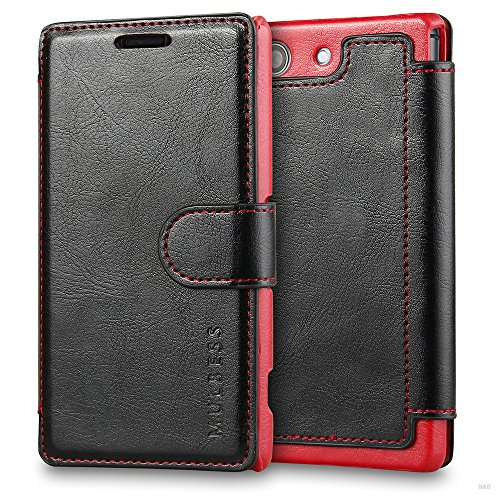 Mulbess Coque pour Sony Xperia Z3 Compact, Etui Sony Xperia Z3 Compact Cuir avec Magnetique, Layered Housse Protection pour Sony Xperia Z3 Compact Case, Noir