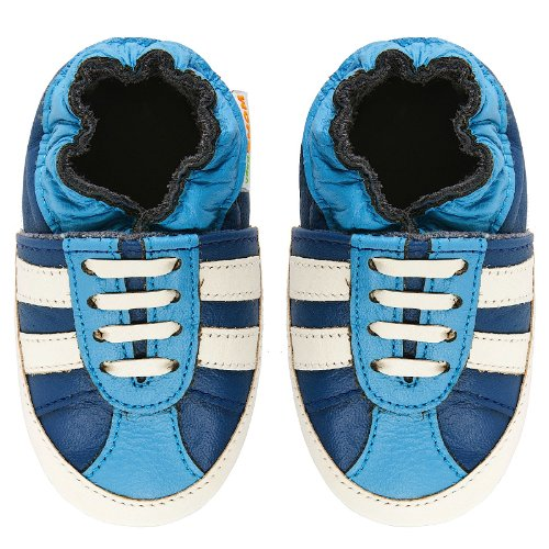 Momo Baby Infant/Toddler Striped Sneaker Blue Soft Sole Leather Shoes - 0-6...