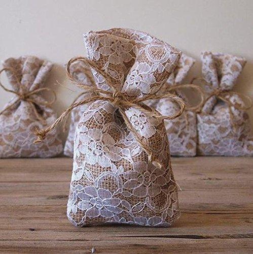 KRAFTZ® - 10 x Vintage jute jute met kanten tassen, bruiloftspartij gunst tekenreeksen geschenkzakje zak-jute met wit kant/net-10cm X 15cm