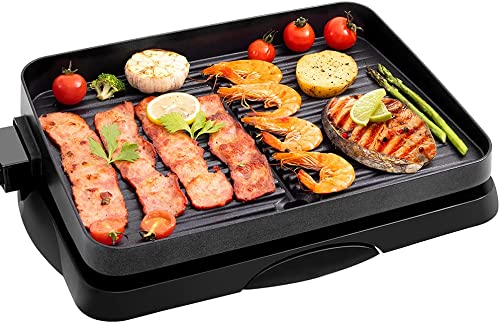 new arrival Indoor Grill Electric Nonstick korean BBQ Grill 1500W, Detachable Contact Grilling with Smart 5-Heat wholesale Temp Controller, Fast Heat Up Family new arrival Size Tabletop Plate PFOA-Free Black outlet sale