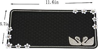 Extra Large 29x 15cm車セルノンスリップマット、ファッションスティッキーパッド、ラインストーンAround and Shinyスワン装飾、滑り止めマウントパッドforセル電話、サングラス、キーとmore-black。