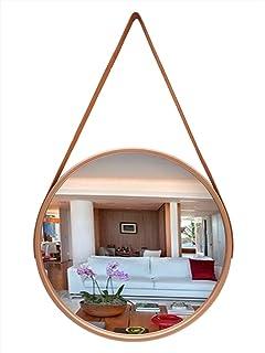 Espelho de Pendurar Emoldurado Redondo Decorativo Rose Gold 60cm Alça Marrom