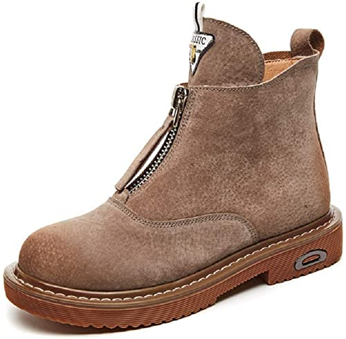 Gaslinyuan Chaussures Courtes Femme en Cuir à Fermeture éclair (Couleuré   gris, Taille   EU 40)