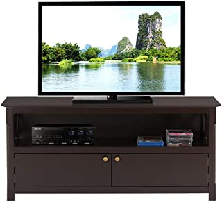 Topeakmart Wood TV Stand for Flat Screens with 2 Doors Storage Cabinets and Open Shelf, Espresso
