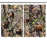 JAWO Camo Hunting Kitchen Window Curtains, Wildlife Animal Hunting Deer Bear Elk Turkey Real Tree Kitchen Window Treatment Set, Window Drapes 2 Panels Set with 10Pcs Metal Hooks, 55 W X 39 L Inches