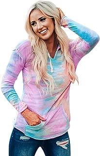 Women Sweatshirt Hoodies Thin Long Sleeves Tie Dye Pullover Hooded Drawstring Kangaroo Pocket Blouse Fall