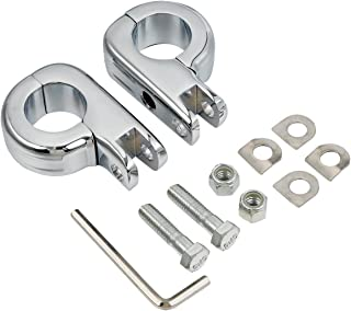 TCMT Chrome Foot Pegs Foot rest Mounting P-Clamp Footpeg Footrest Set Fits For Harley-Davidson 1 1/4