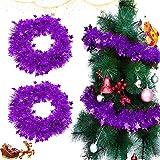 Sunshine smile Metallico Ghirlanda di Tinsel, Albero di Natale Decorazione, festoni Albero di Natale, Ghirlanda Metallica Decorazione, Ghirlanda di Orpelli Natalizi (Viola)