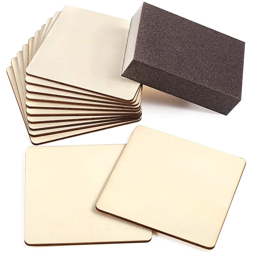 Caydo 12 Pieces Unfinished Blank Wood Squares Slices 4 x 4 Inch Unfinished Wood Cutouts with Sanding Sponge for Pyrography, Painting, Writing, Drinks DIY Craft, Photo Props and Decoration