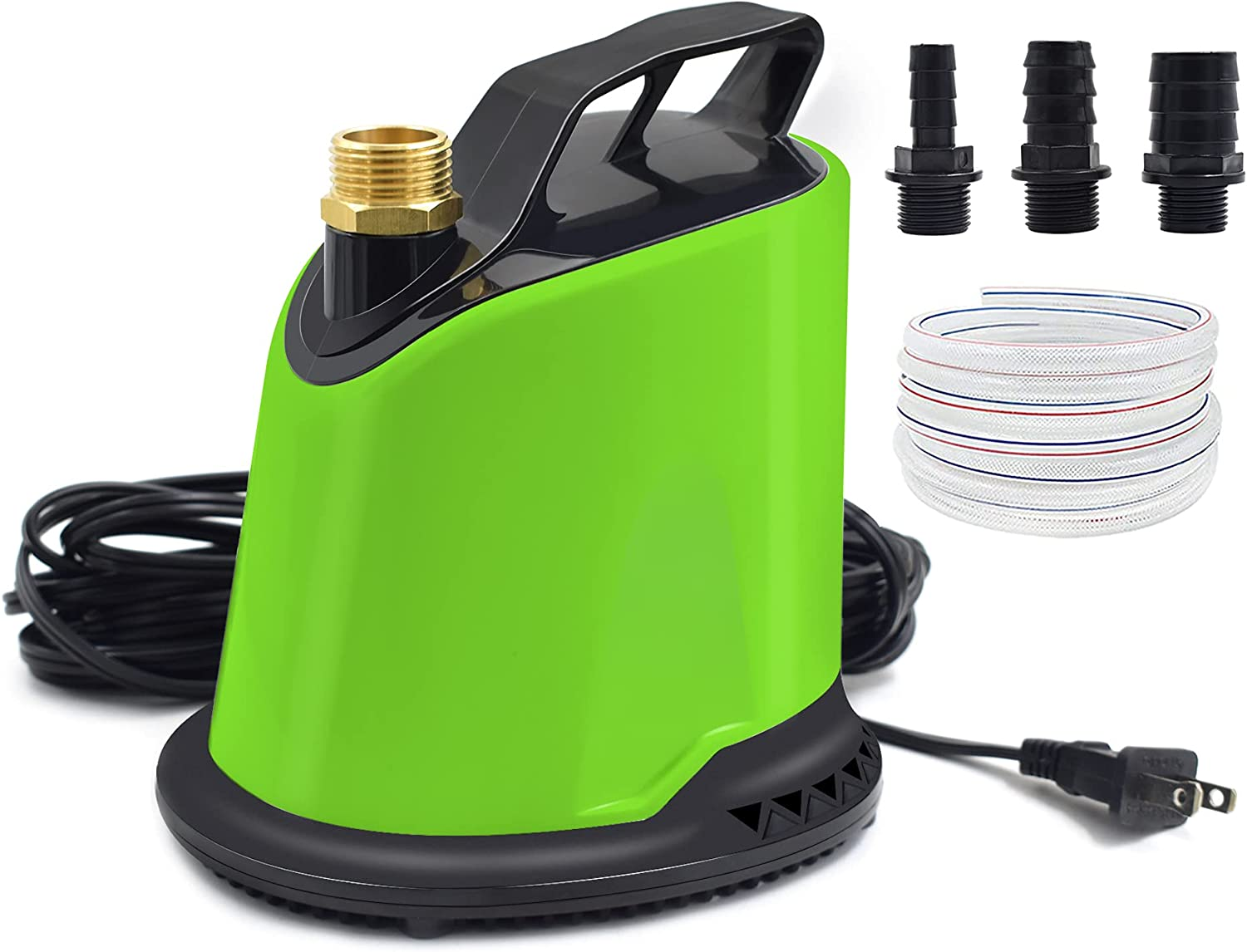 AgiiMan Pool Cover Pump, 1100 GPH Submersible Water Pump for Pool Draining with Adjustable Filter, 16' Drainage Hose and 25' Power Cord, 4 Adapters, Green