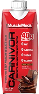 MuscleMeds Carnivor Ready to Drink Protein, Chocolate, 16.9 Ounce, 12 Count, One Size